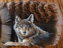wolf feather painting by spikedpyro on deviantart