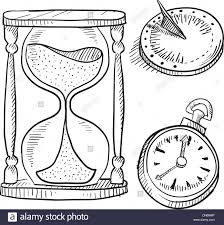 retro hourglass sundial and pocketwatch sketch stock vector art