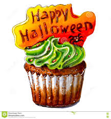 picture of happy halloween marker sketch of happy halloween cupcake isolated stock