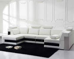 Black And White Sectional Sofa Furniture Large U Shaped White Sectional Sofa With Black Rug For