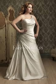 ivory one shoulder applique ruffled plus size wedding dress