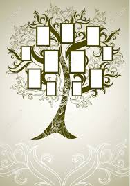 family tree design with frames and autumn leafs place for text