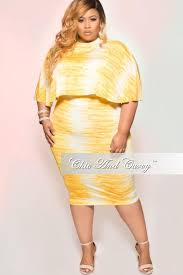 new plus size 2 piece cape top u0026 skirt set in yellow u0026 white tie