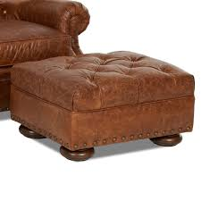 Large Tufted Leather Ottoman Tufted Leather Ottoman With Large Nailheads By Klaussner Wolf