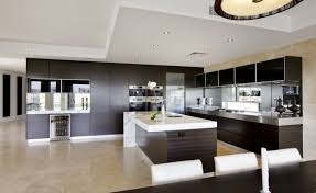 contemporary kitchen design with modern glass top bar and features