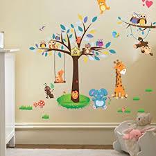 stickers girafe chambre bébé wallpark dessin animé jungle parc hiboux girafe singe sur