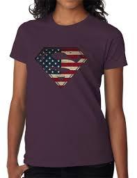 Kenya Flag Clothing American Flag Superman Logo Shield Womens T Shirt Patriotic Usa