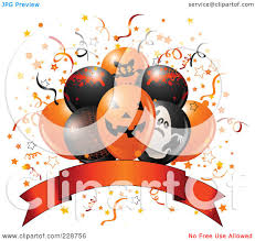 Royalty Free Rf Clipart Illustration Of Halloween Balloons Over