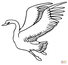 flying swan coloring page free printable coloring pages