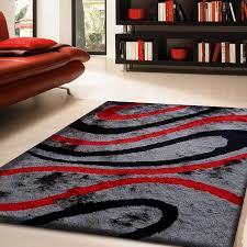 amazon com black and gray with red shag area rug 5 ft x 7 ft