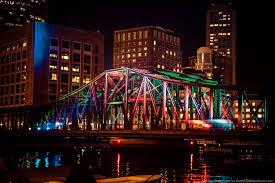 old northern avenue bridge illuminated with led lights photo