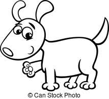 eps vector of cartoon kawaii puppy coloring page black and white