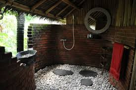 outdoor bathroom design with black timber walls and industrial in