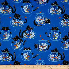 timeless treasures cats fish bowls blue cat fishing and accent