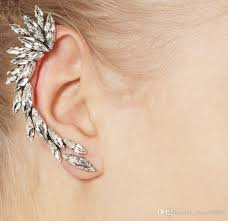 ear cuffs for pierced ears 2018 right ear clip fashion rhinestone feather ear cuff jewelry