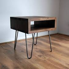 Metal Bedside Table Vintage Retro Industrial Bedside Table Metal Hairpin Legs Wood
