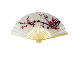 folding fans cherry blossom design fabric folding fan 9in pearl river mart