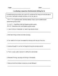english worksheet coordinating conjunctions 4th grade