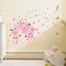 online get cheap girl wall decorations aliexpress com alibaba group fairies girl flower butterfly flowers wall stickers for kids rooms art decal home decor children