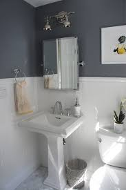half bathroom ideas photos decorating for small gray wall paint plus white wainscoting modern half bathroom ideas rectangular mirror and washstand