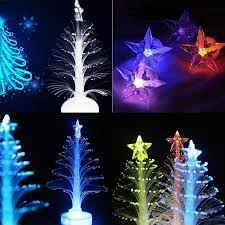 12cm changing christmas trees night light with top star fiber