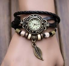 leather wrap bracelet watches images Women 39 s bracelet watch vintage weave wrap black shopzexy jpg