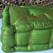 floor cushion green tufted meditation pillow floor sitting