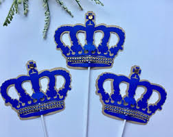 Royal Crown Centerpieces by Royal Prince Glitter Centerpieces Royal Blue Gold Crown