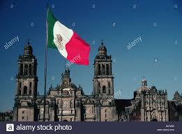 Ak Flag Mexico Mexico City Cathedral Founded In 1573 And Mexican Flag On