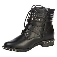 womens motorcycle style boots lisel womens flats low heels studded pearl strappy ankle boots