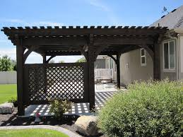 Solid Roof Pergola Kits by Covered Patio 5 Post 20 U0027 X 20 U0027 Diy Pergola Kit W Lattice Panels