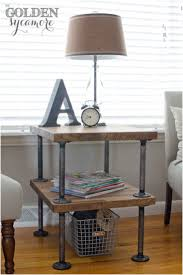 Diy Pipe Desk by Industrial Diy Side Table With Steel Pipe And Unique Desk Lamp