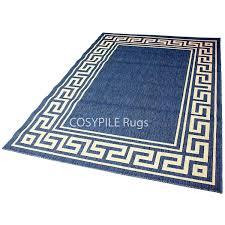 Blue Rug Runners For Hallways Berclon Greek Key Hard Wearing Flat Weave Rugs Runners Mats