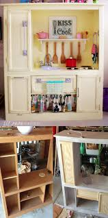 diy play kitchen from entertainment center upcycle ideas