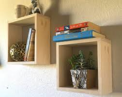 Square Floating Shelves by Square Wood Shelves Etsy