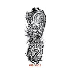 15 45cm waterproof large temporary tattoos black fake rose flower