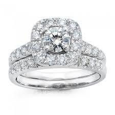 halo wedding rings images 14k white gold round cut cushion halo wedding set jpg