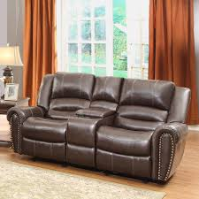 Loveseat With Recliner Homelegance Center Hill Doble Glider Reclining Loveseat W Center