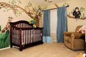 Blue Curtains For Nursery by Animal Giraffe Baby Boy Theme Of With Black Wood Crib And Blue