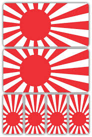 rising sun japanese flag laminated sticker set