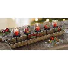 27 5 in rustic wood candle centerpiece tray w five metal candle