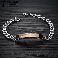 gold tag bracelet images Teamo his and hers bracelets rose gold black cross tag jpg