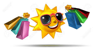 summer shopping and buying fashion and gifts on vacation or during