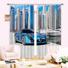 Blackout Kitchen Curtains New 3d Blackout Curtains Luxury Sports Car Pattern Fabric