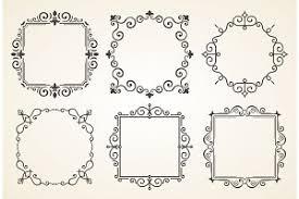 set of vintage decoration frames flourishes
