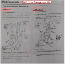 2005 honda odyssey strut assembly replacing front motor mount
