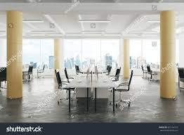 modern open space loft office concrete stock photo 351154163