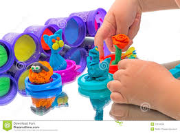 child and kids crafts made of modeling clay stock photo image