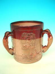 large antique stoneware royal doulton loving cup or tyg c 1840