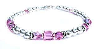birthstone bracelet for solid sterling silver october birthstone bracelets in simulated pink